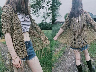 crochet Shell Boho Cardigan free pattern
