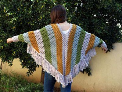 crochet Women Striped Poncho easy pattern