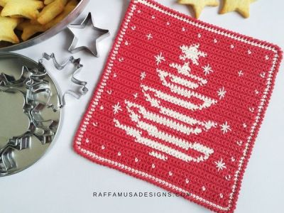 crochet Christmas Tree Potholder free pattern