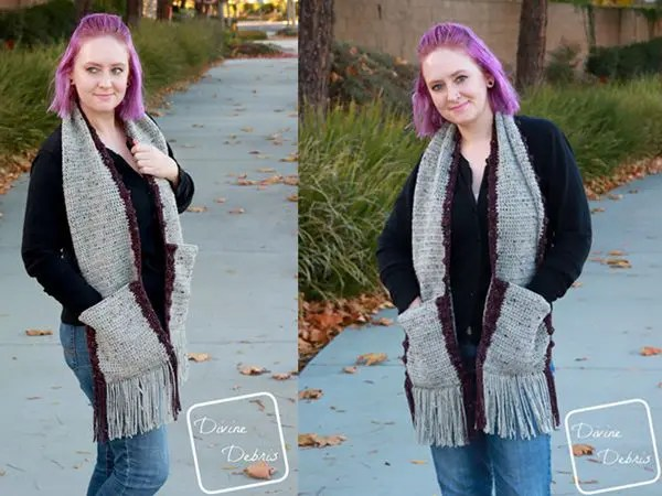 crochet Bobbi Pocket Scarf free pattern