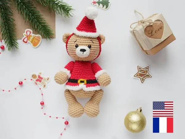 crochet Santa the Bear easy pattern