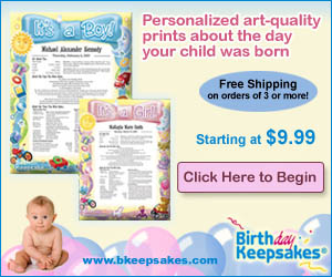 Personalized art-quality prints about the day your child was born