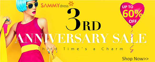 UP to 60% OFF! SammyDress 3 Year Anniversary!