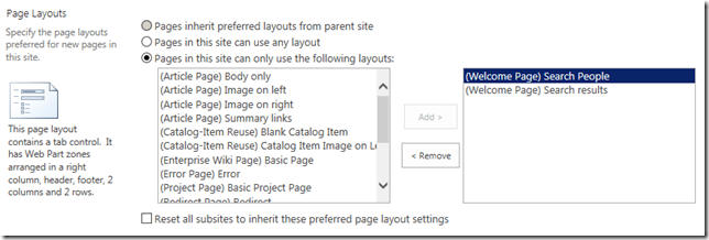sharepoint available page layouts search