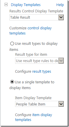 sharepoint search display template selection
