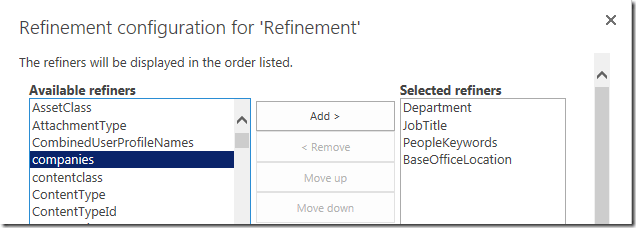 sharepoint search refinements