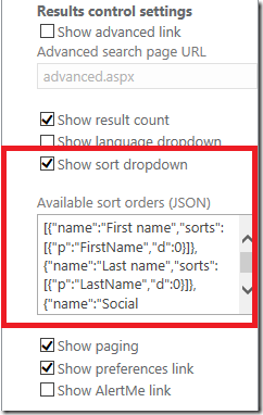 sharepoint search sorting