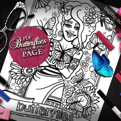 Butterflies Coloring Page, Everyday Goddess Series
