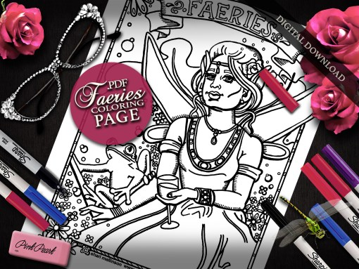 Faeries Coloring Page, Everyday Goddess Series