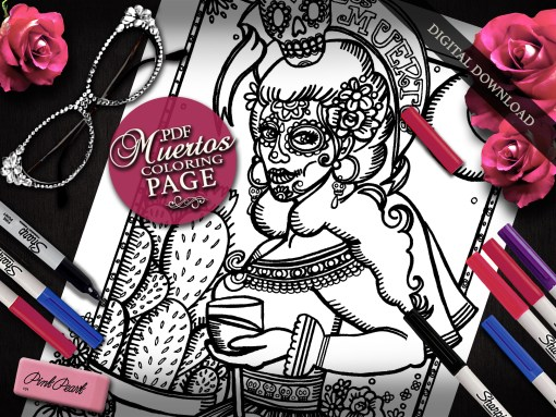 Los Muertos Coloring Page, Everyday Goddess Series