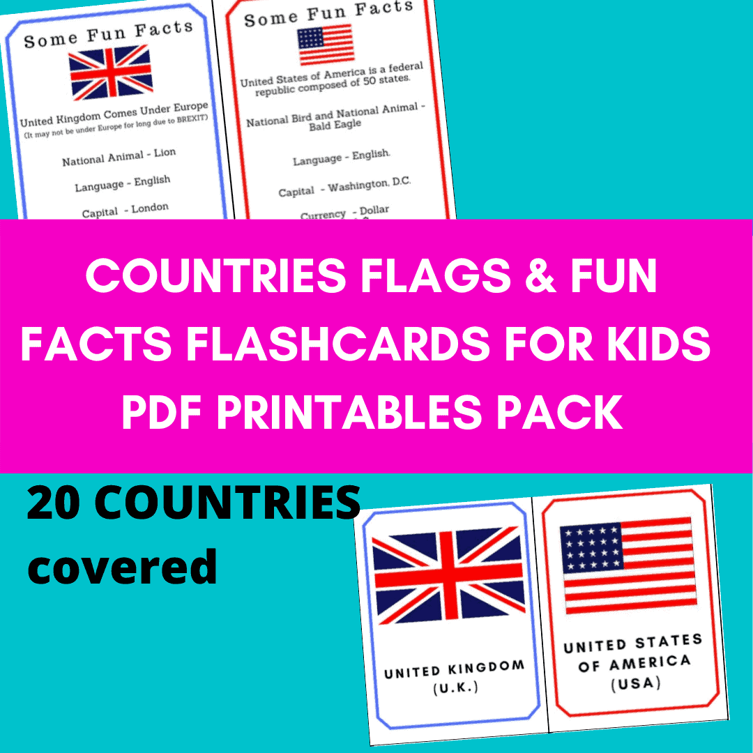 Countries Flags Flash Cards Printables
