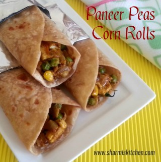 Paneer peas corn rolls