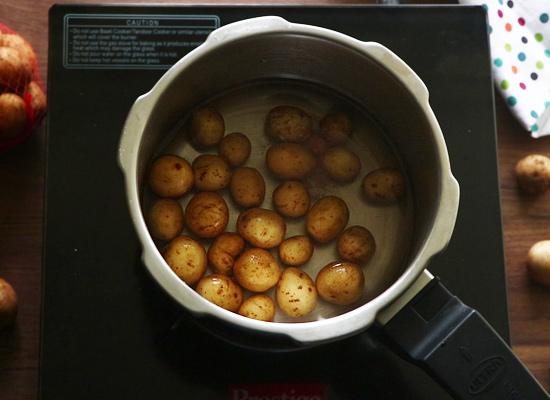 tandoori aloo gravy recipe pressure cook baby potatoes