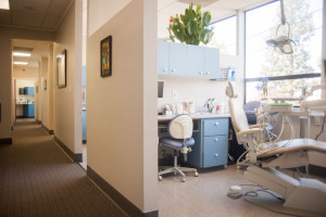 Sharon Albright DDS remodeled dental treatment rooms and hall