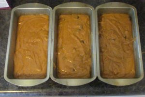 Pumpkin bread in 3 loaf pans ready for the oven
