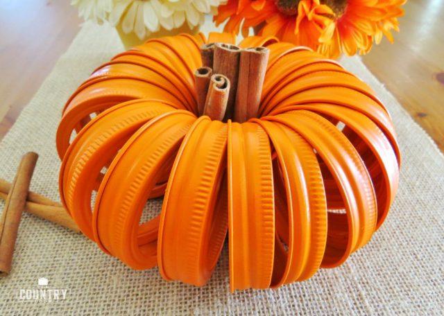 Fall Decor- Mason Jar Lid Pumpkins