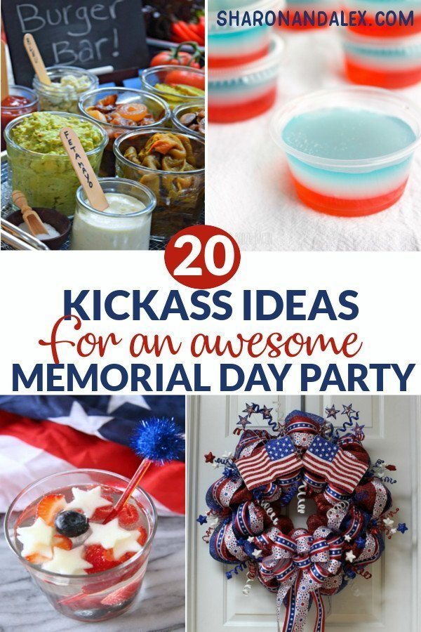 Here are 20 kickass ideas for your Memorial Day bash. Everything from food and drinks, to crafts and games is covered! Click through to find out how you can make this the Memorial Day yet! #memorialday