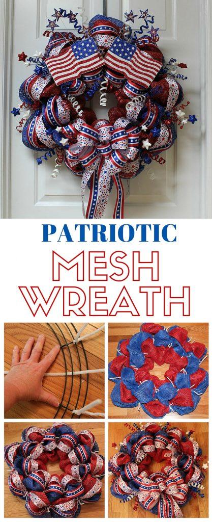 Patriotic Mesh Wreath - Memorial Day Party