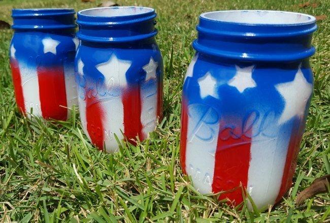 American Flag Mason Jars - Memorial Day Party