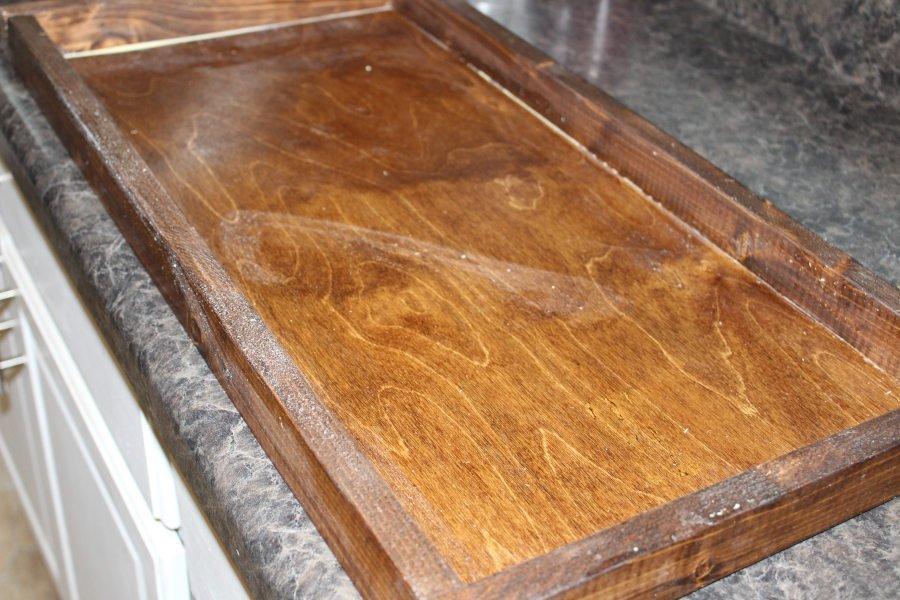 DIY Rustic Wood Tray Glued