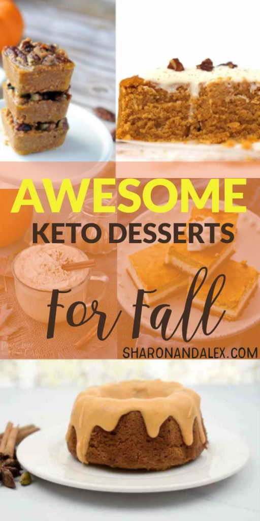 These keto dessert recipes are perfect for fall! If you're missing your pumpkin and apple goodies, check out these fabulous low-carb dessert recipes to get you in the mood for hayrides, bonfires, sweaters, and boots! #fall #keto #ketodesserts #falldesserts #lowcarbdesserts #pumpkin #pumpkindesserts #appledesserts