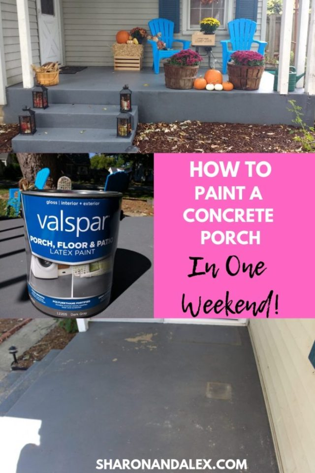 Learn how to paint a concrete porch in a porch in a weekend. It's easy!