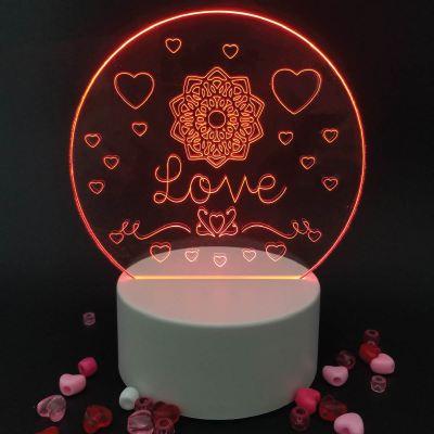 Love Acrylic Engraving with LED Light Base