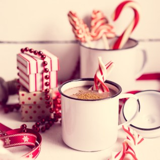 Christmas decoration with hot chocolate mug