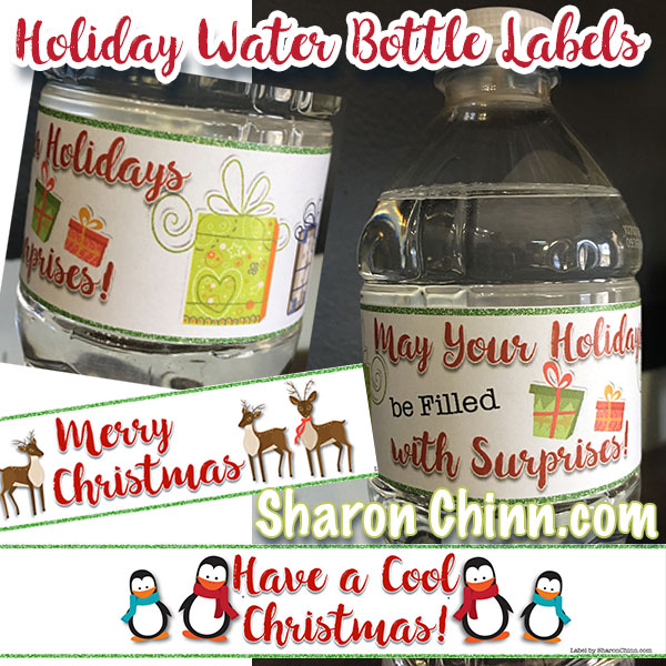 Holiday Water Bottle Labels