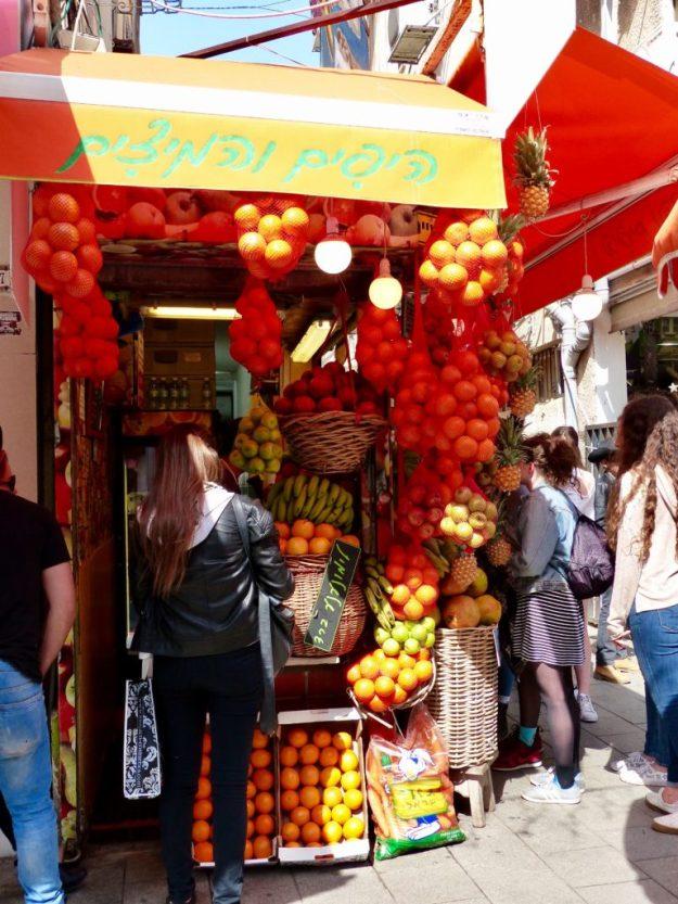 One of the many fresh fruit juice stalls in Tel Aviv