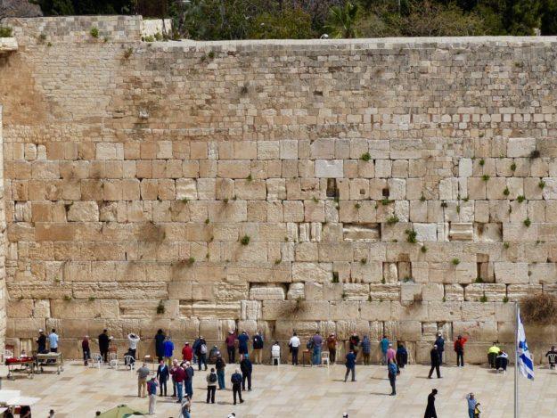 Jewish pilgrims praying at the Western Wall, Jerusalem