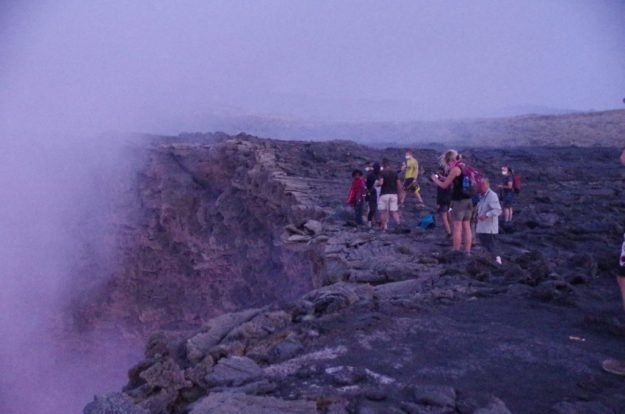 The choking sulphuric gases at the crater edge