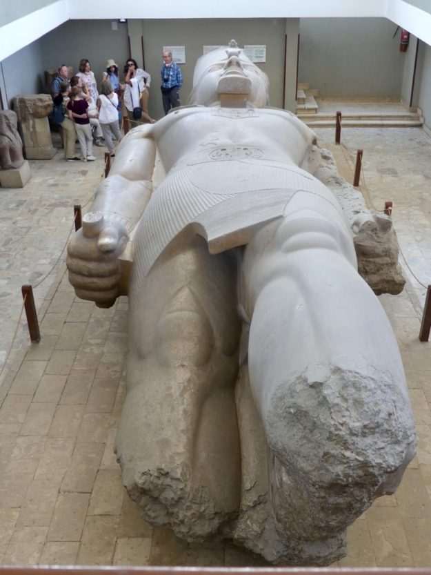 The magnificent fallen statue of Ramses II at the Memphis Open Air Museum