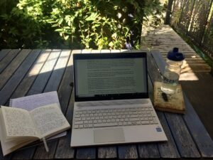 One of my many writing locations in my Emerald Beach retreat