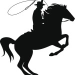 Silhouette Illustration Of A Cowboy Riding A Horse With Rope Bar David Consulting