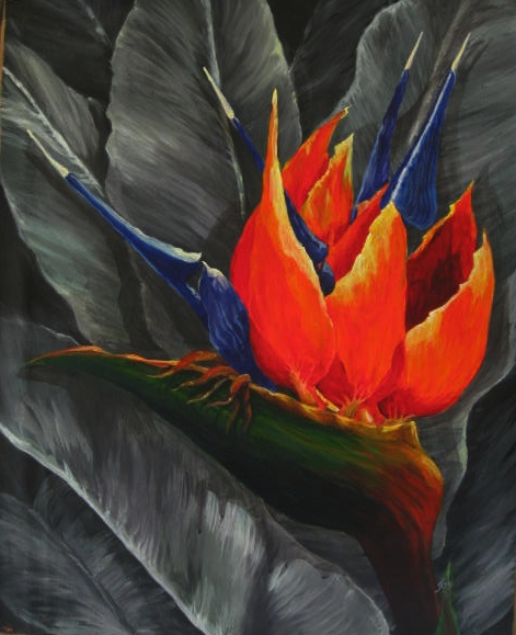 Painting of a Bird of Paradise Bloom nestled in neutral