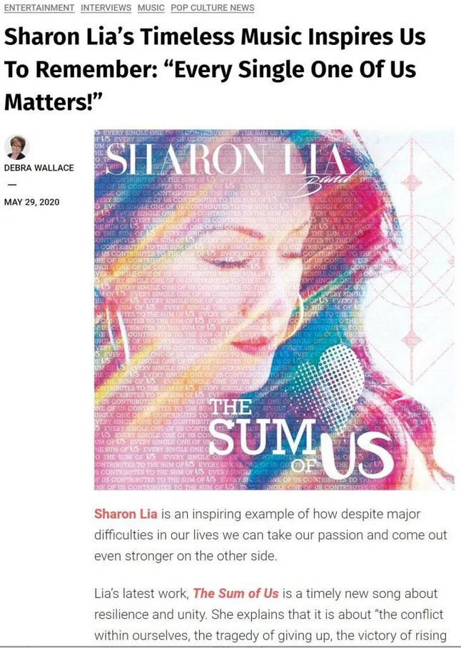 Sharon Lia interview with pop culture magazine Deb Wallace
