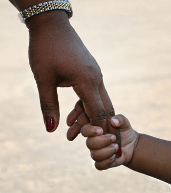 Black-African-Mother-and-Son-Holding-Hands