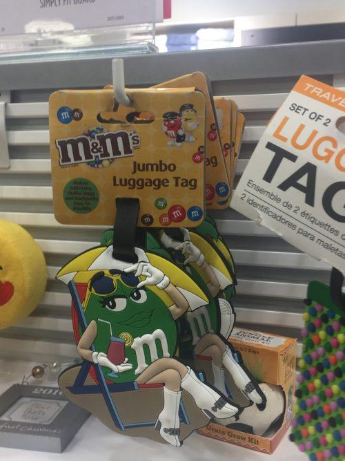 Green M & M Luggage Tag