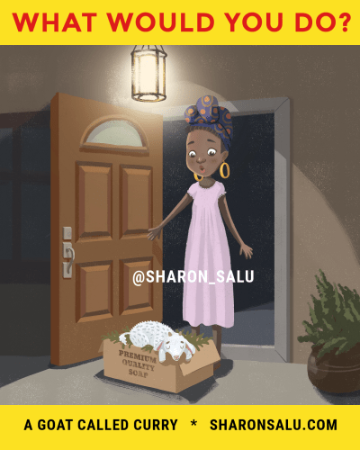 Baby Goat Front Doorstep - A Goat Called Curry - African Childrens Book