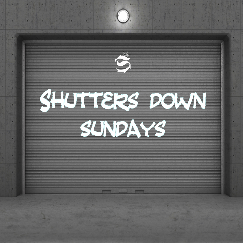 Image of a shutter advertising our VIP tattoo shop takeover, Shutters Down Sundays