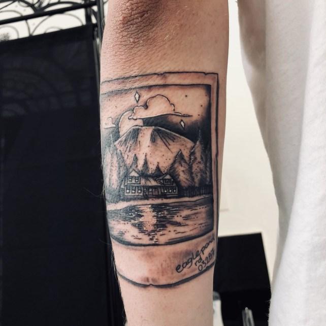 Polaroid style picture tattoo at Sharp Art Studios