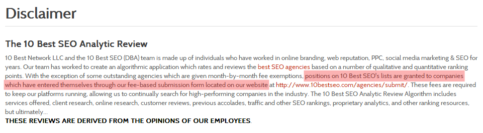 SEO Top 10 disclaimer