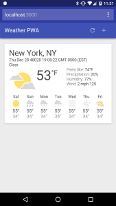 Progressive Web App - Weather Example