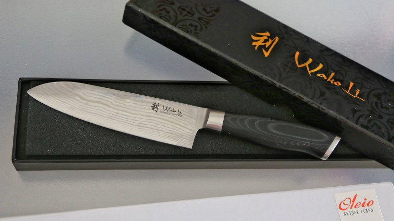 Wakoli 1DM-SAN-MIK Santoku Damascus Knife, Japanese Damascus Steel VG-10, Mikata Handle