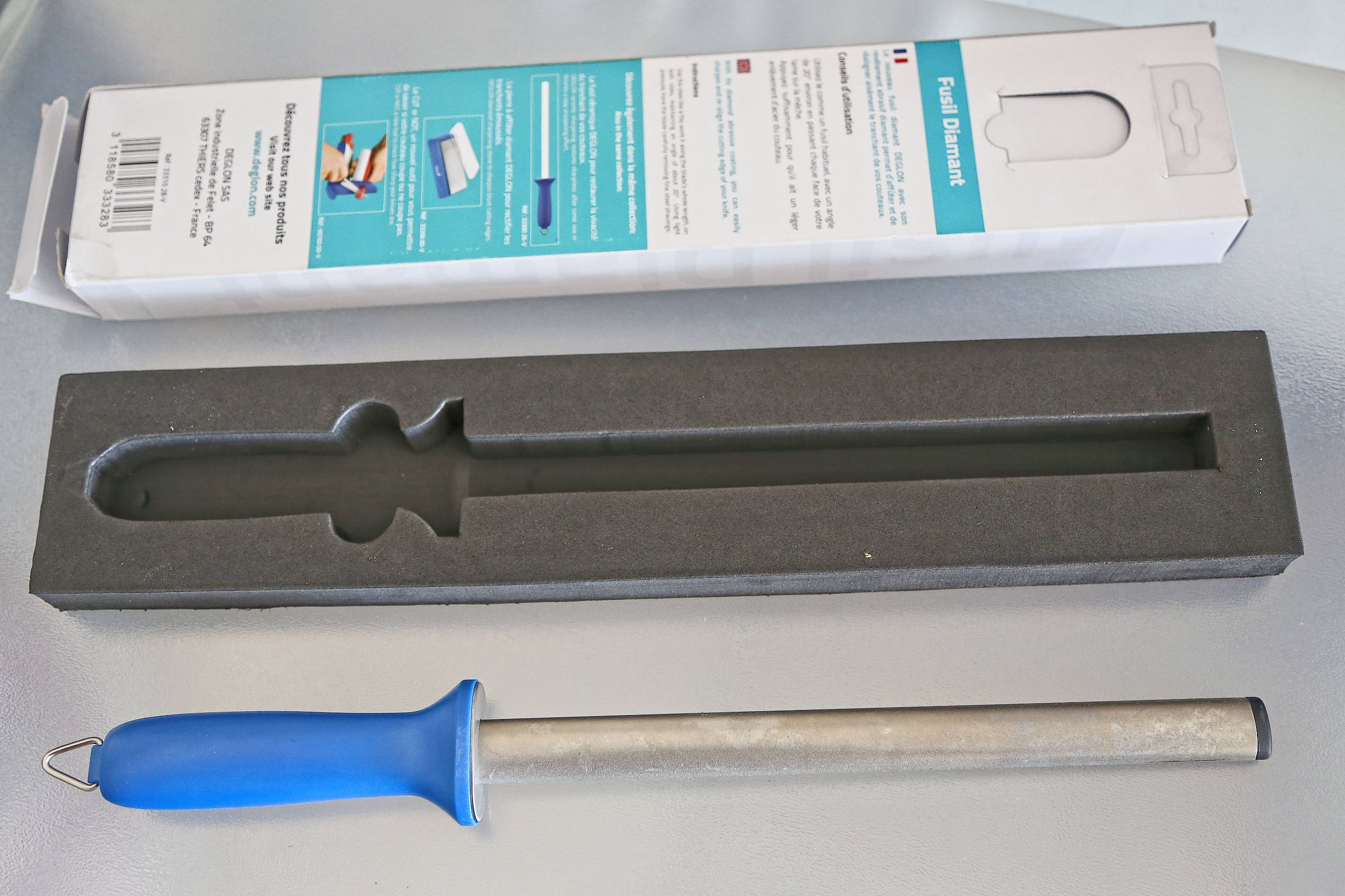 Deglon Oval Diamond Steel Knife Sharpener, 10-Inch