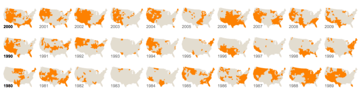 An example of a small multiple map of the USA, from the New York Times.