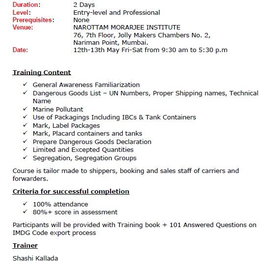 IMDG Code 38-16 Training