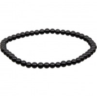 4mm Black Obsidian Stretch Bracelet | Shasta Rainbow Angels