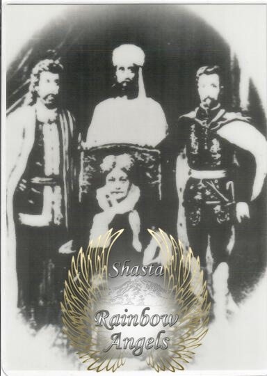 Madame Blavatsky, Kuthumi, El Morya, St. Germain (BL) - 5x7 Laminated Altar Card   Shasta Rainbow Angels